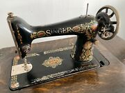 Antique Vintage 'redeye' Singer Sewing Machine Treadle With Cabinet