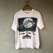 Vtg Budweiser Come Over To My Pad Tree Frog Double Side Big Print T-shirt Medium