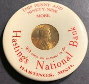 1910 Encased Mirrored Back Lincoln Wheat Cent Hastings National Bank Michigan