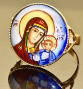 Very Rare Antique Imperial Russian 14k Gold Andhand Painted Enamel Icon Ring C1909