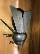 Vtg‼ Antique Italian Silver Plated Honey Bee Jam Pot Red Glass With Hallmarks
