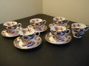 Excellent Set Of 6 Spode Shima Y8172 Bone China 2 3/4 Coffee Cups And 5 Saucers
