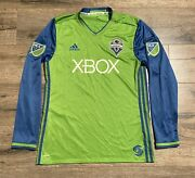 2017 Adidas Seattle Sounders Authentic Green Long Sleeve Large Mls Soccer Jersey