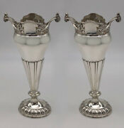 Stunning Pair Of Antique Silver Vases Hallmarked In 1918. A Unique Gift