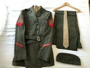 Usmc Us Marines Dress Green Service And039aand039 Uniform Complete With Insignia Vgc