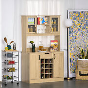 Large Kitchen Buffet And Hutch Living Room Storage Cabinet With Wine Rack