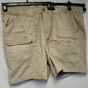 Nwt Mens Big And Tall Croft And Barrow Cargo Shorts Size 52 Tan And Side Elastic 42