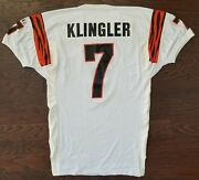 David Klingler 1993-94 Game Worn Used Authentic Photo Matched Nfl Bengals Jersey