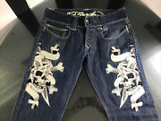 Vtg Ed Hardy Menand039s Jeans 37 X 32 Skull Bones Dagger Embroidered Relaxed Fit