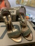 Dolce And Gabbana Sandals And Wedges - Lurex Sandals With Sculpted Heel Gold