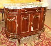 19th Century French Marble Top Buffet Sideboard Server Lock Signed V.f Paris