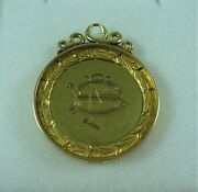 Fabulous Antique Estate 15 Ct Yellow Gold Engraved Fob Medal Medallion 18087