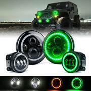7 90w Led Headlights And Fog Lights Combo W/ Green Halo Ring For Jeep Wrangler Jk