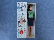 Vintage Mattel 1960and039s Barbie Fashion Doll With Ponytail And Knit Hit Outfit Boxed