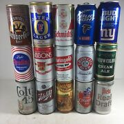 Vintage Beer Can Lot Of 15 Top Opened Schmidy Bud Light Reading Gibbons Iron