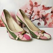 Striped Green Pink Bamboo Web Horsebit Pumps Heels Size 9.5 Womanand039s