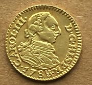 1788 M Madrid Spain Spanish 1/2 Escudo Gold Coin Charles Iii, 1.7 Grams