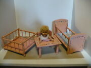 Vogue Crib Crowd Baby Doll With 3 Pc Set Handcrafted Baby Doll Furniture Vgc