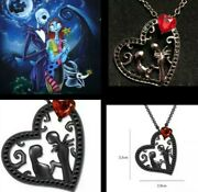 Nightmare Before Christmas Jack And Sally Black Enchanted Heart Necklace