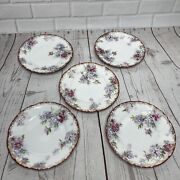 Set Of 5 J And C Louise Bavaria Bread Dessert Plates Floral Antique Hand Painted