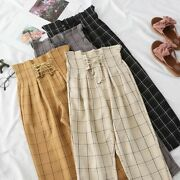 Bandage Pants For Women High Waist Spring Summer Plaid Casual Long Trousers Wear