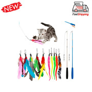 Jiaron Feather Teaser Cat Toy 2pcs Retractable Cat Wand Toys And 10pcs Teaser