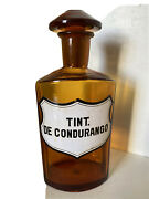 Antique Spanish Glass Label Amber Brown Apothecary Bottle Tint De Quina
