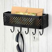 Wall Mount Mail Letter And Key Rack Holder Organizer Metal Decorative Black