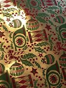 Vtg Christmas Wrapping Paper Gift Wrap Nos Beautiful Ornaments On Gold Foil