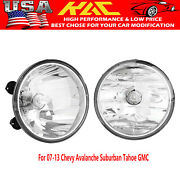 For 07-13 Chevy Avalanche Suburban Tahoe Gmc Clear Fog Lights Driving Lamps