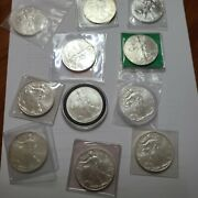 American Silver Eagle 1 Oz Mixed Lot Of 11 1987 1997 1999 2007 2009 2010 2011