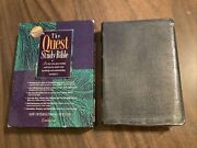 Sealed Niv 1984 Quest Study Bible - Navy Genuine Leather - Oop 84