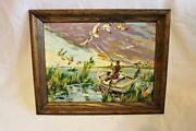 Framed Mcm 1950s Paint By Number Mallard Duck Hunting Scene Nice