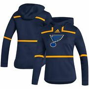 St. Louis Blues Adidas Women's Under The Lights Aeroready Pullover Hoodie - Navy