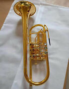 High-grade 24k Gold Plated 3 Rotary Trumpet C Key For Professional With Case