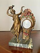 Antique Bronze Pocket Watch Stand Holder Art Deco Lady Marble Base/ Ames Co.