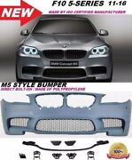 2011-2016 Bmw F10 5-series M5 Style Front Bumper Cover With Sensor Pdc