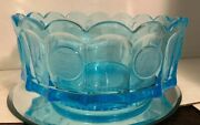 Fostoria - Blue Frosted Coin Glass - Round Heavy Bowl - Vintage Collector Piece