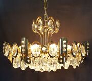 Vintage Brass And Two Tier Light Prism Chandelier
