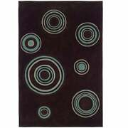 Hand Tufted Trio Collection Bullseye Brown And Blue Polyester