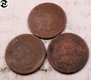3 1866+1876 Indian Head Penny Cent Set-lot // Ag // 3 Coins Il34