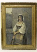 Large Nice Oil On Canvas Painting Of Woman Needs Repair