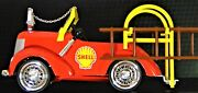 Shell Oil Gas Promo Ad Collector Fire Engine Truck Pedal Car Metal Toy Length 8