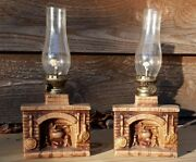 Set Of Vintage Miniature Fireplace Oil Lamps Porcelain Functional And Collectabl