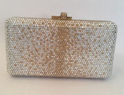 Judith Leiber Ombrandeacute Airstream Champagne And Silver Crystals Clutch