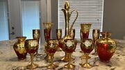 🍷rare🍷15 Piece Murano Glass 24k Gold Leaf Decanter,champagne Flutes And More 🍷