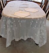 Vintage Marghab Tablecloth And Napkins Ivy 66 X 107 White Embroidery Fabulous