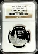 1996 Platinum France 500 Francs Coin Ngc Proof 67 Uc Grand Place 2,000 Minted