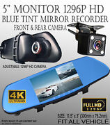 5 Mon 300mm Blue Tint Rearview Mirror 1296p Full Hd Front Back Dvr Carmera G33