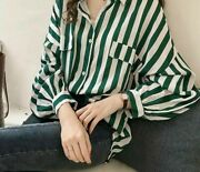 Womenand039s Tops Striped Blouses Long Sleeve Shirts Turn-down Collar Casual Clothing